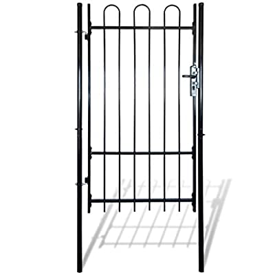 "vidaXL Single Door Fence Gate with Hoop Top,Metal Garden Fencing Panel Animal Barrier Iron Folding Edge Wire Border Fence Ornamental for Residential,Outdoor,Yard, Patio, Entry Way,39.4""x78"""