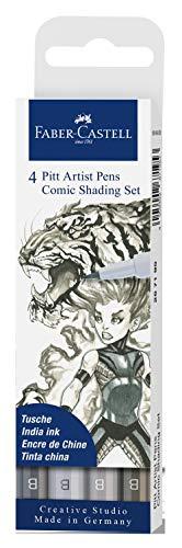 Faber-Castell FC267195 - Tuschestift Pitt Artist Pen Comic Shading Set, Schreibfarbe grau in verschiedenen Abstufungen, mit Pinselspitze, 4er Etui