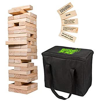 Extra Giant Stacking Tower Drinking Game  Stacks up to 5ft  - 60pcs Wooden Blocks with Drinking Commands  21+ only