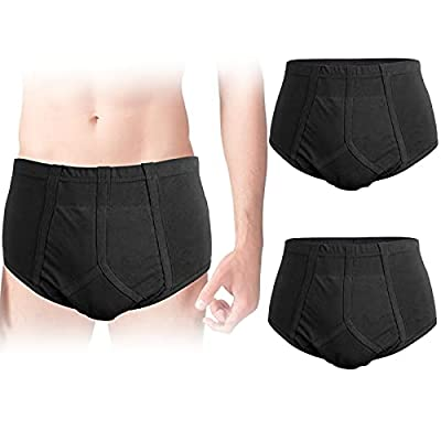 2-Pack Men's Incontinence Underwear Cotton Regular Absorbency Reusable Washable Urinary Incontinence Briefs for Prostate Surgical, Elder by FAMI HELPER