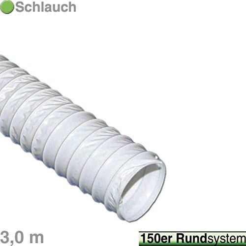 VIOKS 3m Abluftschlauch Luftschlauch für Abzugshaube Klimaanlage Trockner Dunstabzug Abluft Material: PVC Durchmesser: 150 mm 15 cm Schlauch Länge: 3,0 Meter