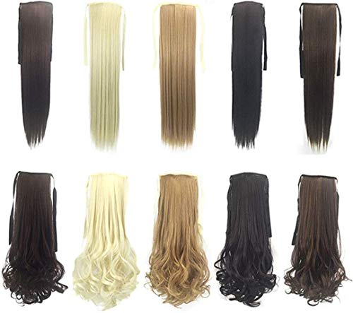 KQBAM Ponytail Colorsize Hair Tail Mesdames Perruque Extensions De Cheveux Tie Rope Straight Queue, 10 Pièces, Colorsize (Colorsize, Multi-Colorsizeed), Multi-Colorsizeed