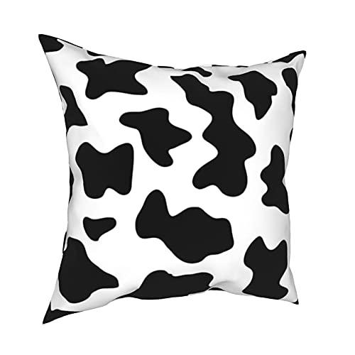 Fundas de almohada decorativas con estampado de vaca de granja en blanco y negro para habitación, dormitorio, sofá, silla, coche, 50,8 x 50,8 cm