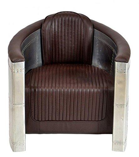 Casa-Padrino Art Deco sillón de Aluminio Brown - sillones - sillón - Muebles de Aluminio