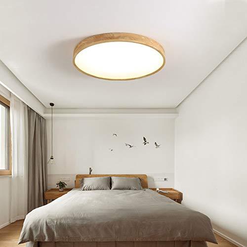 Lámpara LED de techo de madera regulable, 18 W, con mando a distancia, diseño ultrafino de 4,5 cm, pantalla de lámpara de acrílico, utilizado en salón, dormitorio, cocina, diámetro de 30 cm