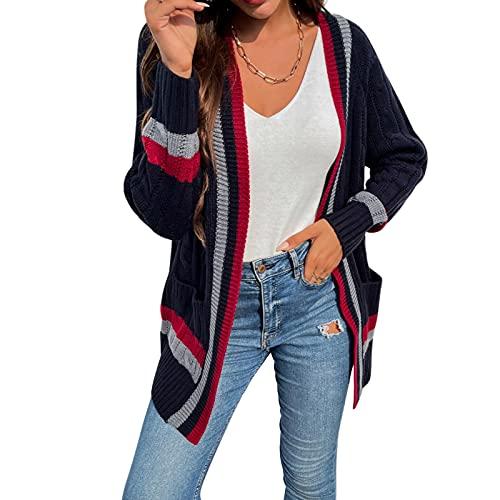 FUNWAVE Las mujeres Casual de punto de rayas Cárdigan de manga larga abierto frente color bloque de gran tamaño suéter abrigo Outwear, Negro, L