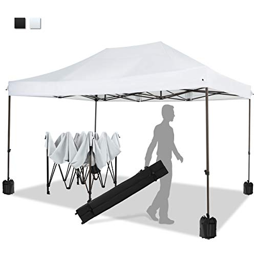 KITADIN Pop up Canopy Tent 10x15 FT Commercial Instant Shelter Outdoor Canopies with Wheeled Carry Bag, 4 Canopy Sand Bags (White)