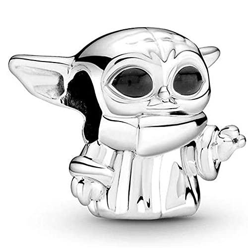 Star Wars Abalorios Charms Colgantes - Abalorios de plata de ley 925, compatible con Pulsera Brazaletes Pandora & Europeo, regalos de cumpleaños para mujeres, Charms para Mujer Niña, 2 piezas