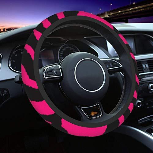 Zebra Tiger Leopard - Funda universal para volante para mujer, hombre, 15 pulgadas, antideslizante, absorción de sudor, para coche, coche, coche, furgoneta, sedán, camiones, color rosa