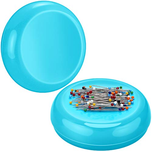 2 Pieces Magnetic Sewing Pincushion Round Magnetic Cushion Magnetic Pin Holder Sewing Pin Storage Case Round Needle Cushion Tool for Sewing DIY Projects (Blue)