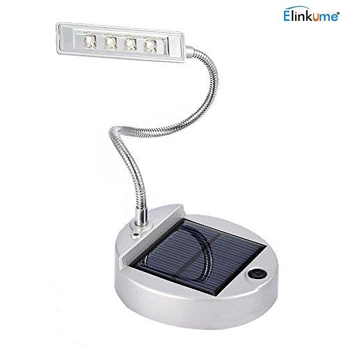 ELINKUME Lámpara de escritorio solar LED con cable USB, lámpara de lectura de bajo consumo para estudio/dormitorio/camping