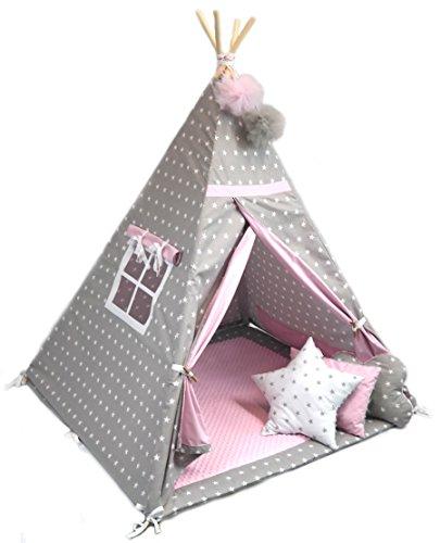 123home24.com Tipi - Spielzelt , Kinderzelt, Wigwam, Kinderzimmerdeko Kindertipi Zelt für Drinnen und Draußen Set 7 tlg.