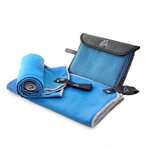 MNT10 Mikrofaser Handtuch mit Tasche I leicht & kompakt, dünn & schnelltrocknend I Premium Reisehandtuch I Ideal als Fitness, Sport, Sauna, Badetuch, Strandtuch XXL (80 x 150 cm, 02 - Blau)