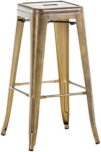 Taburete De Bar Metálico Joshua V2 con Reposapiés I Taburete Apilable Sin Respaldo I Taburete Alto Moderno & En diseño Industrial I Color:, Color:Oro