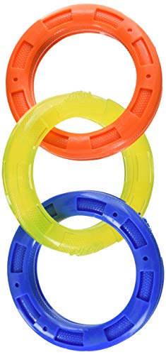 Nerf Dog Multi-Ring Tuff Tug Dog Toy, Lightweight, Durable and Water Resistant, 4 Inch Diameter for Medium/Large Breeds, Single Unit, Blue, Orange, Green