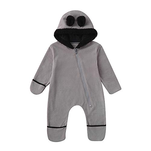 MRULIC Baby Overall Mit Kapuze Footies Winter Strampler Schneeanzüge Karikatur Jumpsuit Mädchen Jungen Kleidungsset Fleece Footed Spielanzug(A-Grau,Höhe:65-70cm)