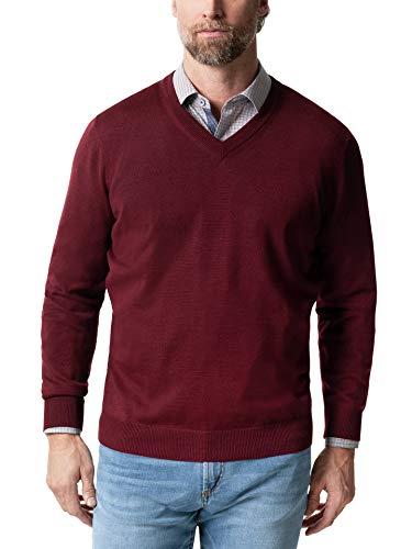 Walbusch Herren Merino Mix V Pullover einfarbig Bordeaux 52