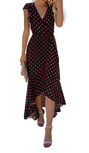 GRECERELLE Women's Summer Floral Print Cross V Neck Dress Bohemian Flowy Long Maxi Dresses PD-Red Black-Small