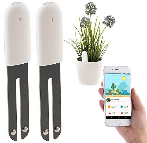 Royal Gardineer Zubehör zu Bodenfeuchtigkeitsmeser: 2er-Set 4in1-Pflanzensensoren mit Bluetooth und App-Kontrolle (Pflanzensensor kabellos)