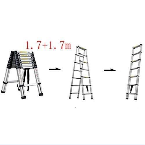 IREANJ Escalera, Zigzag del hogar Escalera Plegable, portátil Escalera telescópica de Aluminio, Teniendo 150kg / 330lb (Color: 2,0 + 2,0 m) Escaleras (Color : 1.7+1.7m)