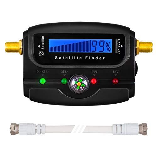 HB DIGITAL SATFINDER mit LCD Anzeige Kompass und Ton + F-Verbindugskabel + Deutsche Anleitung + vergoldete Anschlüsse * zur Justierung Ihrer Sat Antenne * mit Horizontal / Vertikal und 22kHz Anzeige
