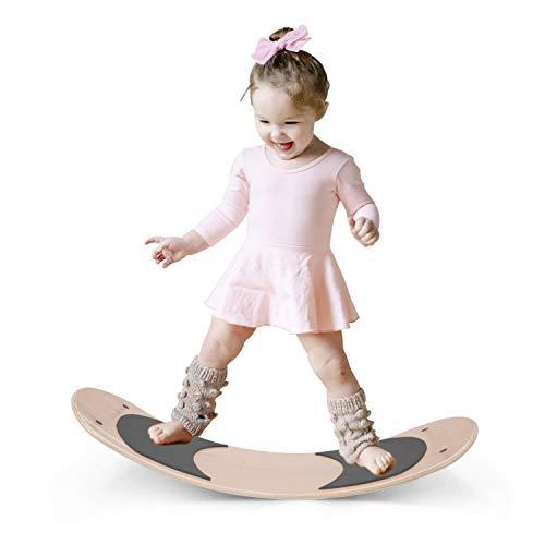 HANMM Wooden Balance Board Wobbel Balance Board Kid Yoga Board Curvy Board  Wooden Rocker Board Grey