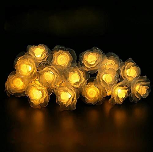 Luces de cadena de rosas solares 6.5m 30LED 8 modos de iluminación Decoración de patio impermeable al aire libre decoración de jardín de césped luces de cadena de vacaciones Warmwhite