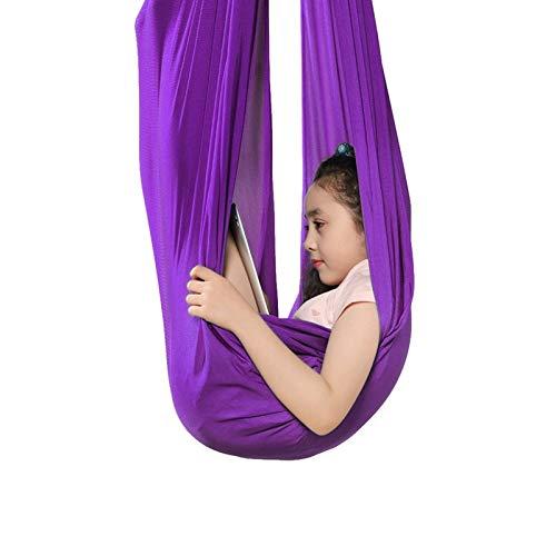 ZCXBHD Silla de Columpio con Capacidad Carga 200Kg Ajustable Hamaca sensorial para niños o Adultos Terapia Autismo ADHD o Integración Sensorial (Color : Purple, Size : 100x280cm/39x110in)
