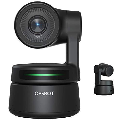 OBSBOT Tiny AI-Powered PTZ Webcam Ai Kamera 2-Achsen Gimbal Full HD 1080p AI-Tracking-Zoom Power Gesture Selfie Videokamera für Online Class Meeting Live-Streaming und - Schwarz