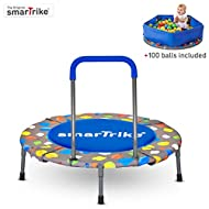 smarTrike 9200000 Indoor Toddler Trampoline with Handle, Ball Pit with 100 Balls Included, Foldable Kids Trampoline, 1-5 Years, Multi Color