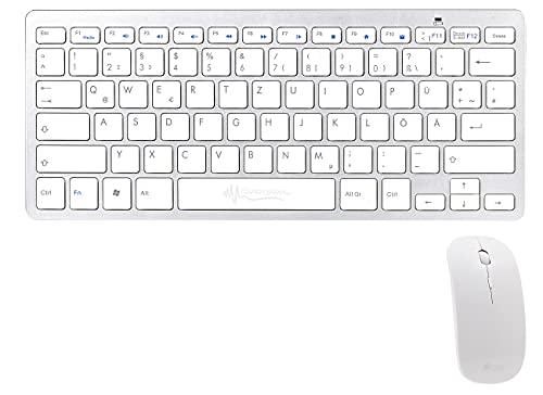 GeneralKeys Kabellose Tastatur: Set: Schlanke Funk-Tastatur mit Scissor-Tasten im Alu-Look & Funk-Maus (Maus und Tastatur kabellos)