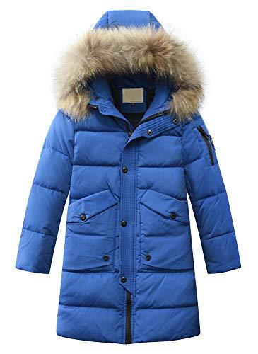 Mallimoda Bambini Giubbotto Invernale Impermeabile Cappuccio Pelliccia Sintetica Ragazzi Ragazze Blu Reale 13-14 Anni (per Altezza 160-170 cm)