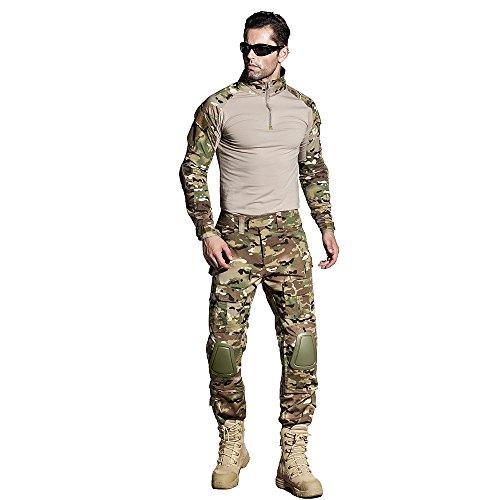 CedarAct Combate Airsoft Uniforme Camisa Pantalones Con Coderas Rodilleras Militares Tácticas Caza Ropa Camisa Pantalones Camo BDU