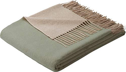 Biederlack Decke Sofaüberwurf Plaid Wolle Salbei 130 x 170 cm