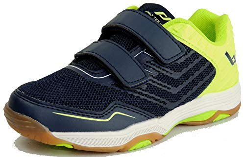 Pro Touch Rebel 3 VLC Volleyball-Schuh, Navy/Green Lime, 32 EU