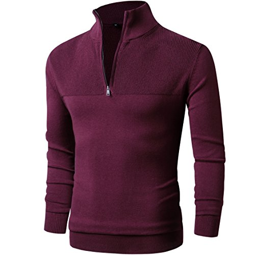 LTIFONE Men Sweater,Slim Zipper,Polo Sweater Casual Long Sleeve and Pullover with Ribbing Edge(Red,S)