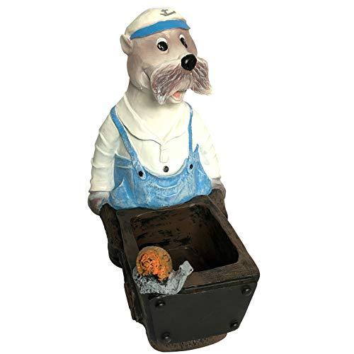 OF Gartenfiguren Seebär Robbie mit Schubkarre - Seehund Dekofiguren für außen - Wetterfest