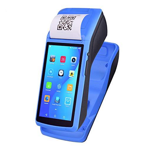 Topuality Stampante palmare palmare All in One Terminale di pagamento POS wireless Android Stampante per ricevute con touchscreen da 5 pollici Supporto per dock di ricarica GPS BT/WiFi/USB OTG/3G