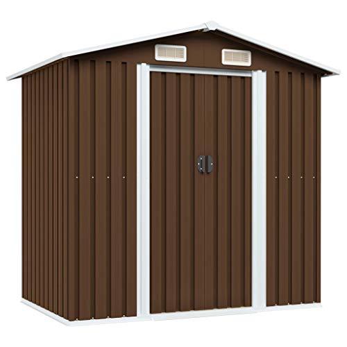 Tidyard Gerätehaus mit Türgriff und KantenschutzGeräteschuppen Outdoor Gartenhaus Schuppen Metallgerätehaus Braun 204x132x186 cm Stahl