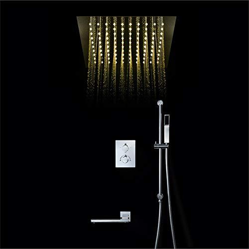 Kaper Go Cobre grifo de la ducha control remoto LED30*30cm Canopy Top Spray sistema de ducha montado en la pared barra de elevación termostática ducha set plata
