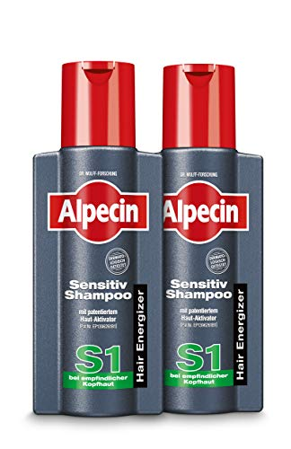 Alpecin Sensitiv-Shampoo S1 - Haarshampoo für Männer bei trockener, gereizter und juckender Kopfhaut - 2 x 250 ml