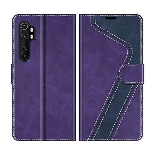 MOBESV Handyhülle für Xiaomi Mi Note 10 Lite Hülle Leder, Xiaomi Mi Note 10 Lite Klapphülle Handytasche Hülle für Xiaomi Mi Note 10 Lite Handy Hüllen, Violett/Dunkelblau