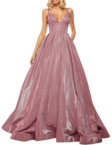 Elegant Abendkleid Lang A-Linie Ballkleid Partykleider Prinzessin Hochzeitskleid Satin Glitzer Festkleider Altrosa 58