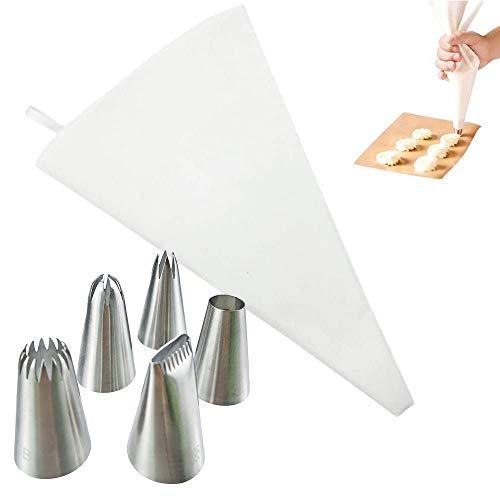 Ealicere Spritzbeutel Set 6-teilig, Profi-Spritzbeutel-Set 40 cm, wiederverwendbarer Spritzbeutel mit Tüllen, 5 Edelstahl- Spritztüllen für Kuchen, kochfeste Baumwolle beschichtet