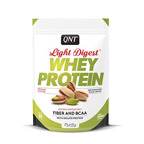 QNT Proteine del Siero di Latte con Fibre, Bcaa e Whey Isolate Gusto Pistacchio - 0.5 kg