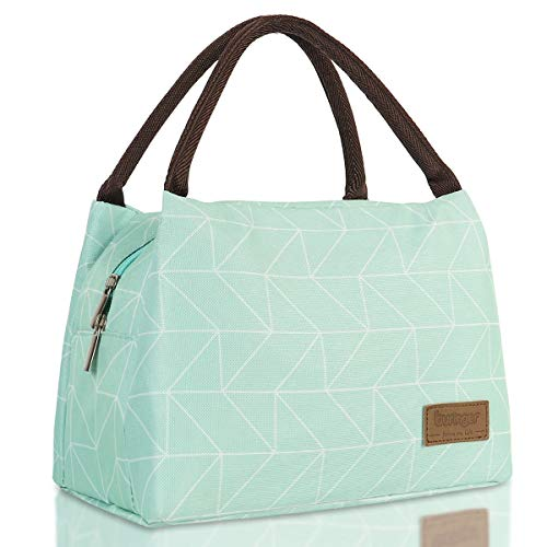 Buringer Reusable Insulated Lunch Bag Cooler Tote Box Meal Prep for Men & Women Work Picnic or Travel (Geometry Green)