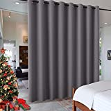 RYB HOME Gift Gray Room Divider Screen Partition, Energy Smart Modern Blackout Privacy Curtain Panel Heavyweight for Patio Door / Beach / Balcony Door, 8 ft Tall x 15 ft Wide, Grey, 1 Pc
