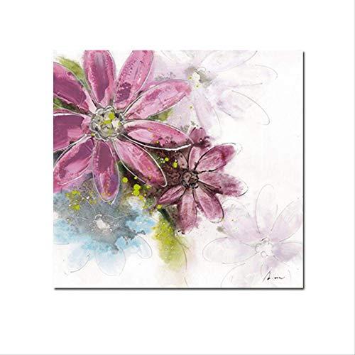 Modern Bloeiende Bloemen Poster Mode Waterdicht Olieverf Muurschilderij Huisdecoratie Grafisch kunstwerk Woonkamer 60x60cm Geen lijst