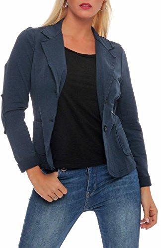 Malito Classico Blazer nella Base-Look Giacca Camicetta Elegante Ufficio 1651 Donna (XL, Blu Scuro)