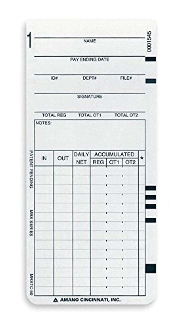 トリムスリチンモイゴムタイムカード ペイロールカードタイプ 記録 週間 毎週 高さ7-1/4インチ 幅3-1/2インチ